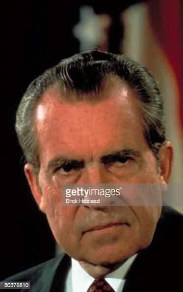 Pres Dick Nixon in serious portrait