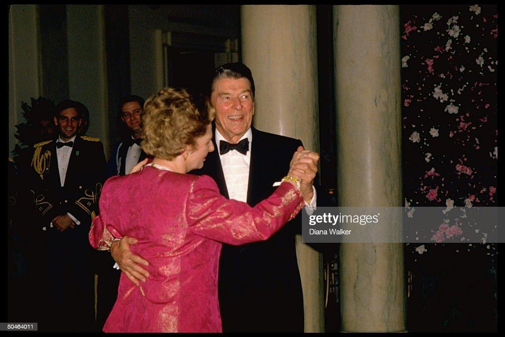 Pres. Reagan dancing w. British PM Margaret Thatcher during WH State Dinner.