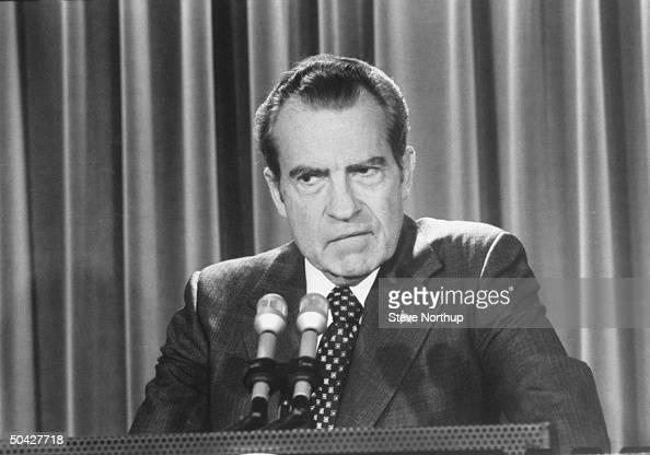 Pres Richard Nixon holding press conf