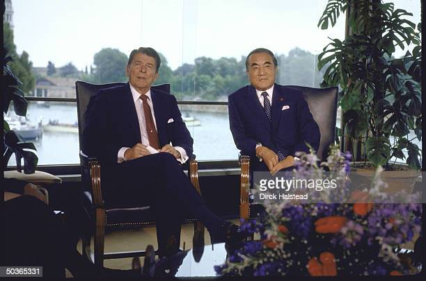 US Pres Ronald W Reagan meeting with Japanese Prime Minister Yasuhiro Nakasone during an economic summit