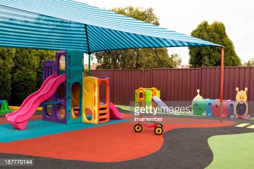 Preschool Playground With Sunshade And Playgraound