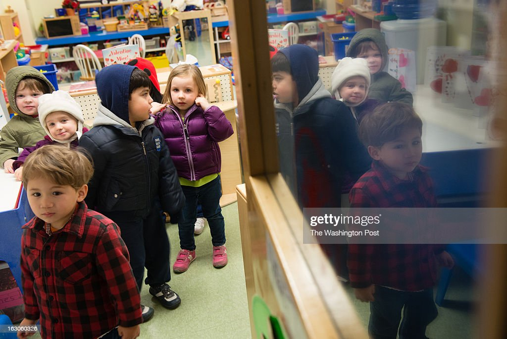 Preschool students line up to leave the classroom. At the St. Andrews Episcopal School in Potomac, MD, they use brain research to inform teaching and learning. The school has the only K-12 school center for teaching based on brain research in the country.