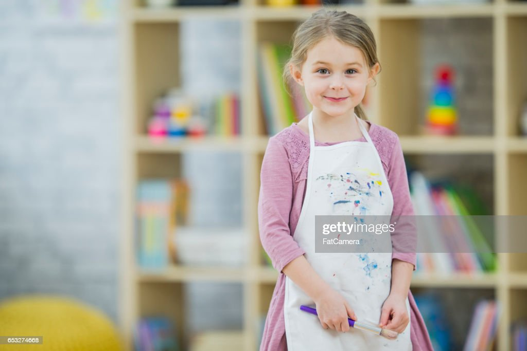 Preschool Students Painting : Stock Photo