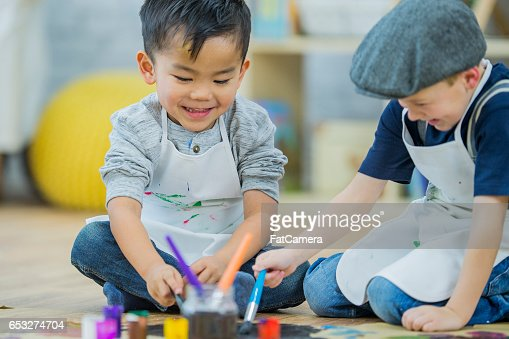Preschoolers Painting an Art Project : Stock Photo