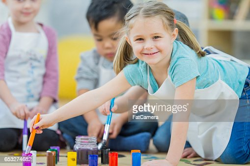 Preschoolers Painting Together : Stock Photo