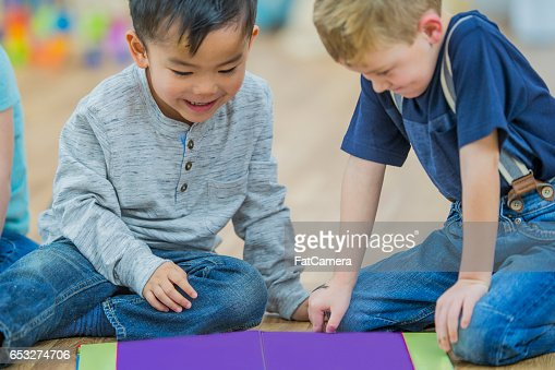 Preschoolers Reading Together : Stock Photo