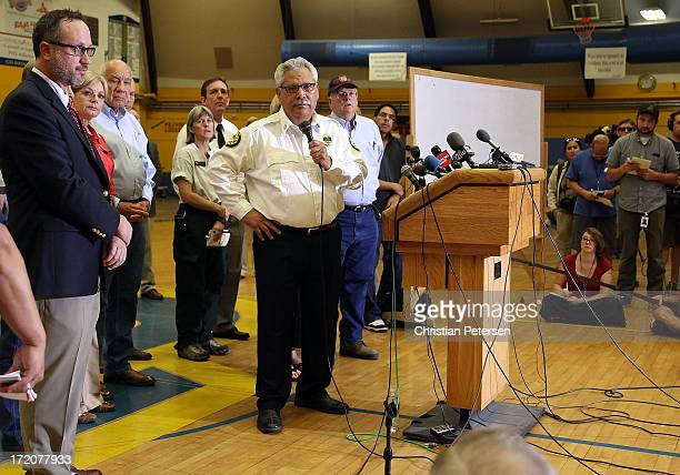 Prescott Arizona Fire Chief Dan Fraijo speaks at a news conference at the Prescott High School Gym on July 1 2013 in Prescott Arizona 19 Granite...