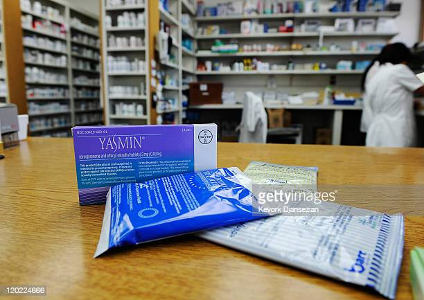Prescription contraceptives for women sit on the counter of a drug store on August 1 2011 in Los Angeles California Under new standards issued by the...