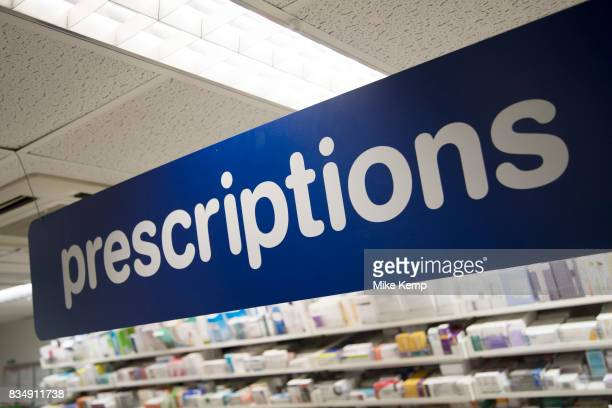 Prescription Drugs behind the counter at Boots the chemist in London England United Kingdom