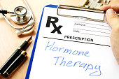 Prescription form with sign hormone therapy.