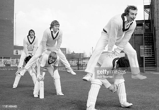 Preseason training for Lancashire County cricketers at Old Trafford in Manchester April 1973 The 'couples' are David Lloyd and Farokh Engineer Peter...