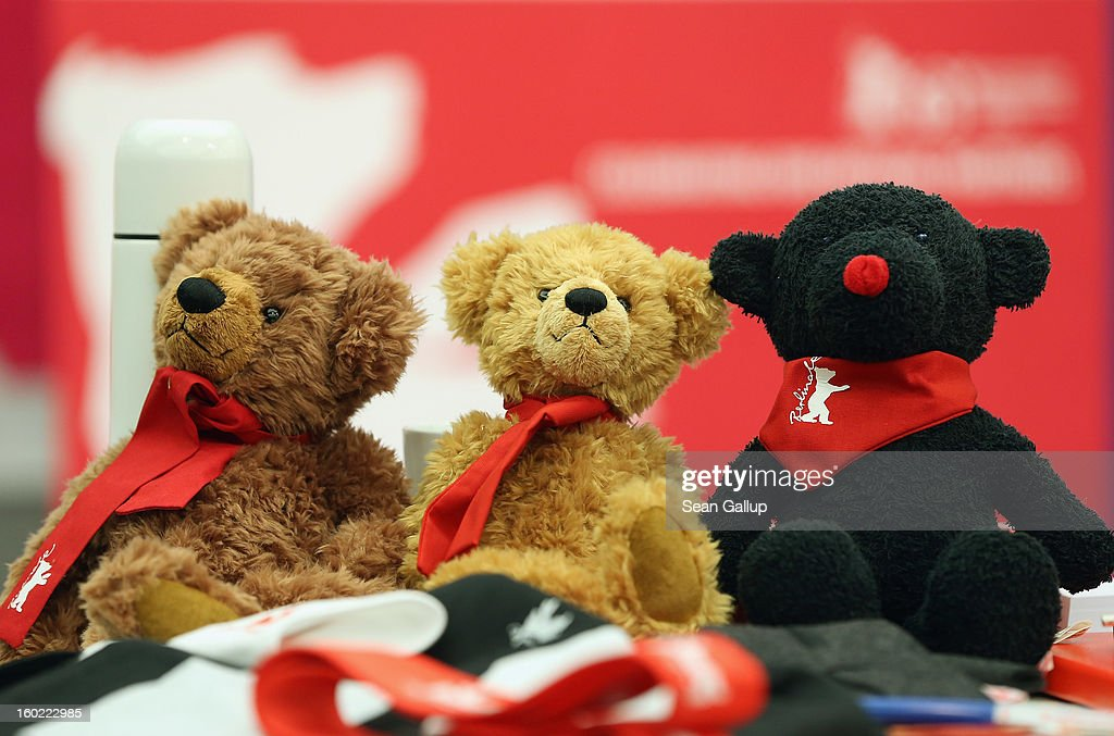 Present and past official Berlinale stuffed bears of the Berlinale International Film Festival lie on a table prior to the opening press conference of the 63rd Berlinale on January 28, 2013 in Berlin, Germany. The 63rd Berlinale will run from February 7-17.