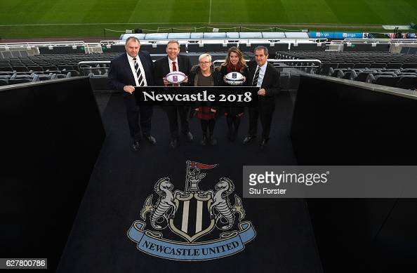 Present at the announcement of the launch of Newcastle's bid to host the 2018 European Rugby Cup Finals in 2018 left to right Dean Richards Newcastle...