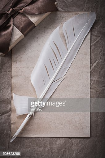 Present box sheet of wrapping paper plume holidays concept : Stock Photo