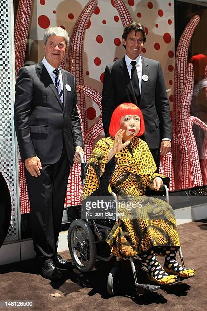 Present Louis Vuitton Chairman and CEO Yves Carcelle artist Yayoi Kusama and future Louis Vuitton Chairman and CEO Jordi Constans attend the Louis...