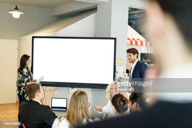 Presentation in office at large screen