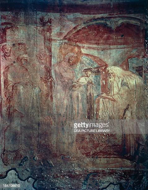 Presentation in the Temple fresco by the Master of Castelseprio Church of Santa Maria Foris Portas Castelseprio Italy 9th century