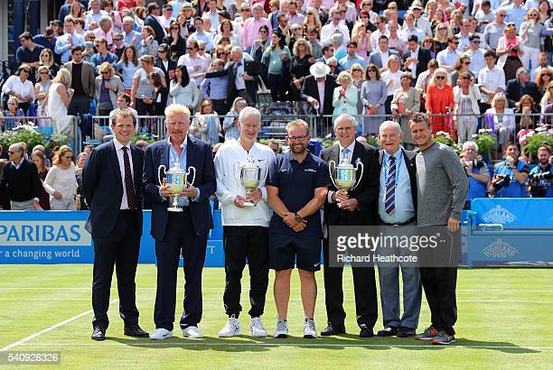 A presentation is made for four time champions Boris Becker of Germany John McEnroe of the USA Roy Emerson of Australia and Lleyton Hewitt of...