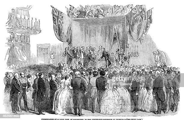 'Presentation of a gold vase at Melbourne to the Lieutenant Governor of Victoria' 1854 An engraving from The Illustrated London News 17th June 1854