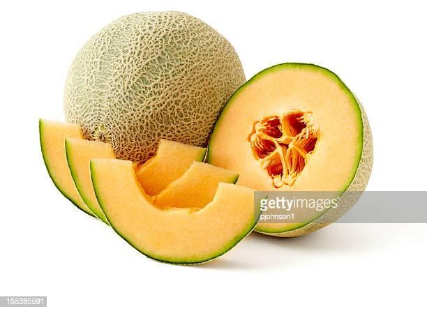 A presentation of cut up cantaloupe