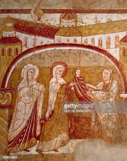 Presentation of Jesus at the temple fresco in the Church of SaintMartin VicenBigorre France 12th century