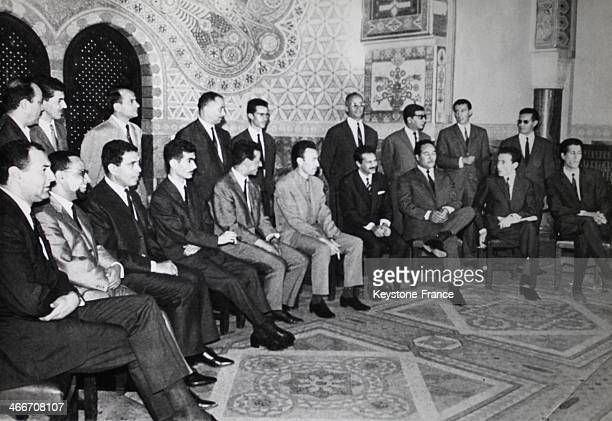 Presentation of new Algerian government with Abelaziz Bouteflika Minister of Foreign Affairs 4th from right and Houari Boumediene Minister of Defense...