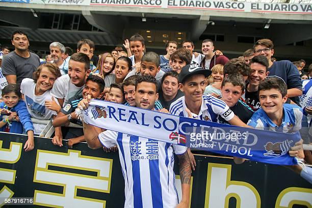 Presentation of Willian Jose as a player of the Real Sociedad in the Anoeta Stadium at San Sebastian
