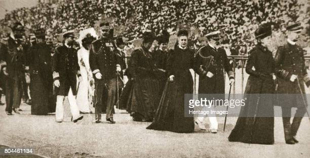 Presentation party at the Olympic Games Athens Greece 1906 King George of Greece plus other dignitaries Successful competitors were presented with...