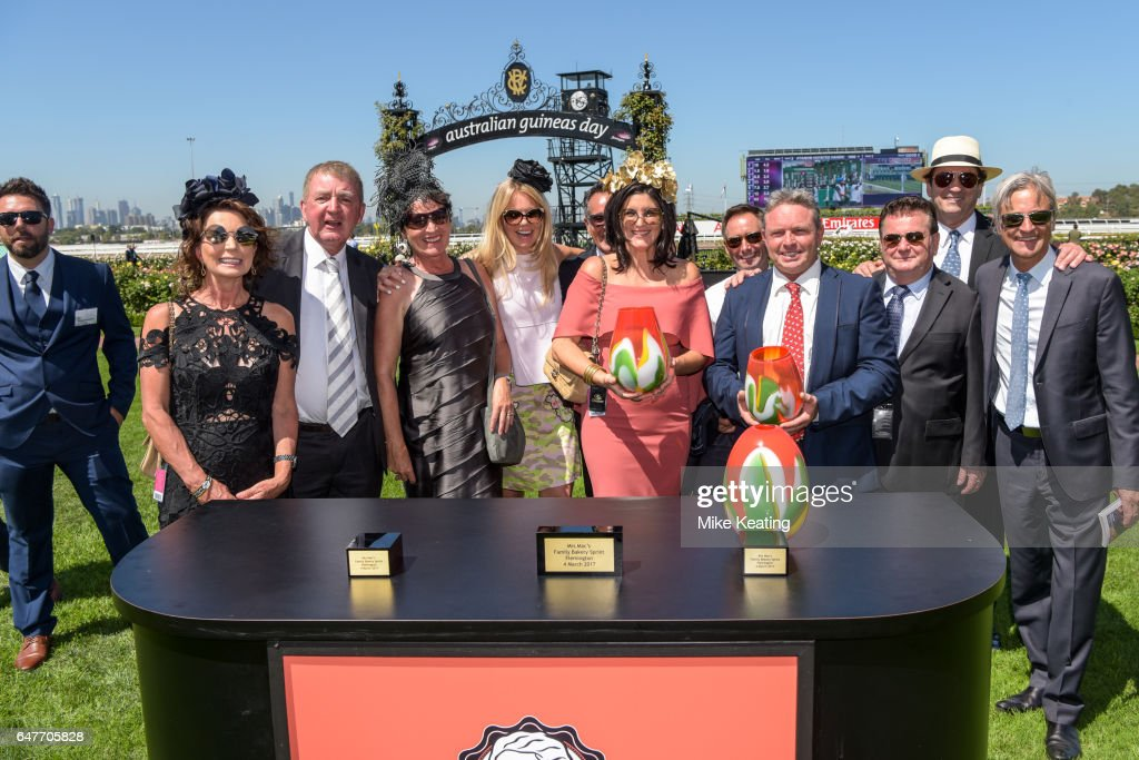 Presentation to connections Missrock after winning the Mrs Macâs Family Bakery Sprint at Flemington Racecourse on March 04, 2017 in Flemington, Australia.