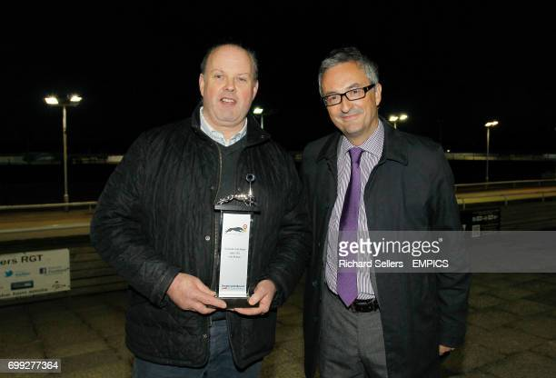 Presentation to Patrick Rosney for the Greyhound of the month award to Swift Hoffman before the All England Cup final Newcastle Greyhound Stadium