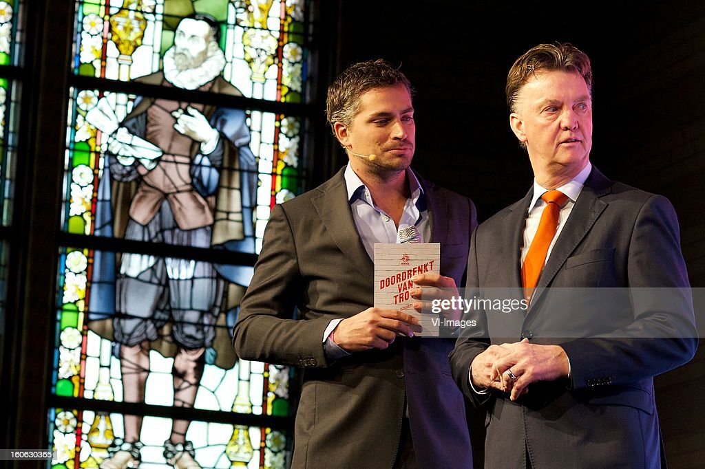 presentator Hidde van Warmendam, coach Louis van Gaal of Holland during the presentation of the new Netherlands National team kit on February 4, 2013 at Amsterdam, Netherlands.