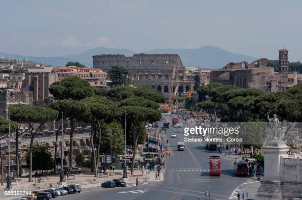 Presented 3 new routes on the roof of Piazza Venezia for visitors to be inaugurated on June 22nd pictured Foro Romano Colosseo during a press...
