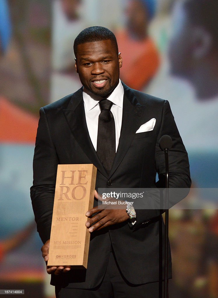Presenter 50 Cent speaks onstage during the CNN Heroes: An All Star Tribute at The Shrine Auditorium on December 2, 2012 in Los Angeles, California. 23046_006_MB_1263.JPG