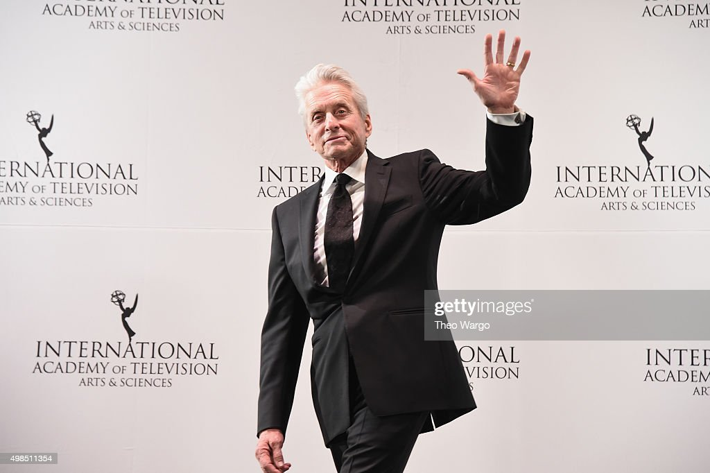 Presenter, Actor <a gi-track='captionPersonalityLinkClicked' href=/galleries/search?phrase=Michael+Douglas&family=editorial&specificpeople=171111 ng-click='$event.stopPropagation()'>Michael Douglas</a> attend 43rd International Emmy Awards at New York Hilton on November 23, 2015 in New York City.