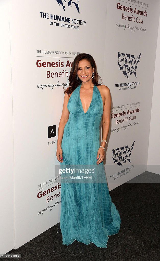 Presenter actress Constance Marie poses backstage at The Humane Society of the United States 2013 Genesis Awards Benefit Gala at The Beverly Hilton Hotel on March 23, 2013 in Los Angeles, California.