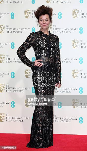 Presenter actress Helen McCrory poses in the winners room at the EE British Academy Film Awards 2014 at The Royal Opera House on February 16 2014 in...