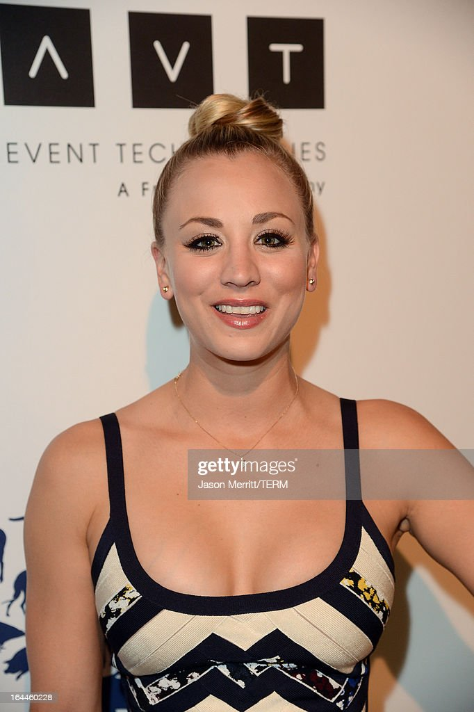 Presenter actress <a gi-track='captionPersonalityLinkClicked' href=/galleries/search?phrase=Kaley+Cuoco&family=editorial&specificpeople=208988 ng-click='$event.stopPropagation()'>Kaley Cuoco</a> attends The Humane Society of the United States 2013 Genesis Awards Benefit Gala at The Beverly Hilton Hotel on March 23, 2013 in Los Angeles, California.