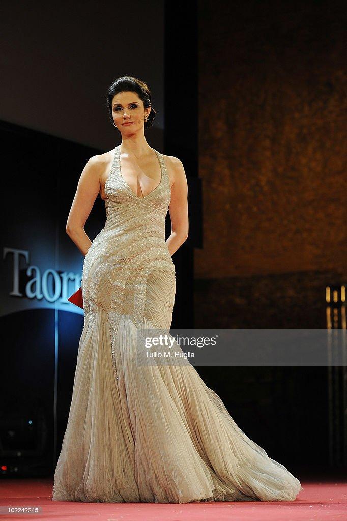 Presenter Alessandra Martinez poses during the Nastri d'Argento ceremony awards on June 19, 2010 in Taormina, Italy.