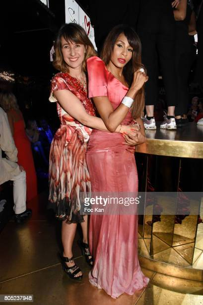 TV presenter Alexia Laroche Joubert dressed by On Aura Tout Vu and Choreographer Mia Frye dressed by On Aura Tout Vu attend the 'Red Defile' Auction...