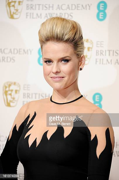 Presenter Alice Eve poses in the Press Room at the EE British Academy Film Awards at The Royal Opera House on February 10 2013 in London England
