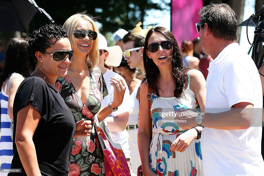 TVNZ presenter Alison Mau and girlfriend Karleen Edmonds meet Labour party member of parliment Jacinda Arden at the Big Gay Out at Coyle Park on February 10, 2013 in Auckland, New Zealand. Big Gay Out is the largest annual gay and lesbian festival in New Zealand.