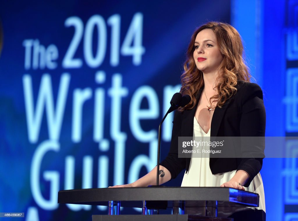 Presenter Amber Tamblyn speaks onstage during the 2014 Writers Guild Awards LA Ceremony at JW Marriott at LA Live on February 1 2014 in Los Angeles...