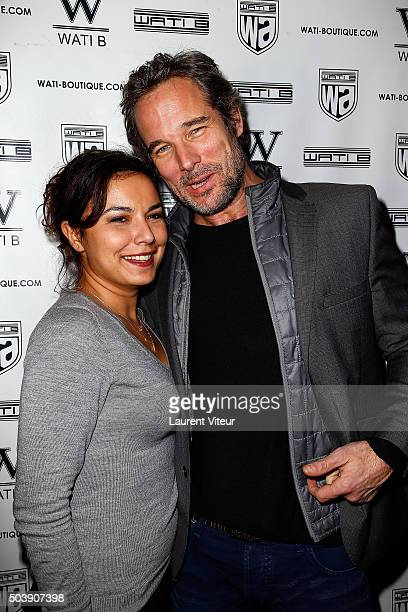 Presenter Anais Baydemir and Actor Fabrice Deville attend the Launch of Kelly Vedoveli's blog at Bridge Club on January 7 2016 in Paris France