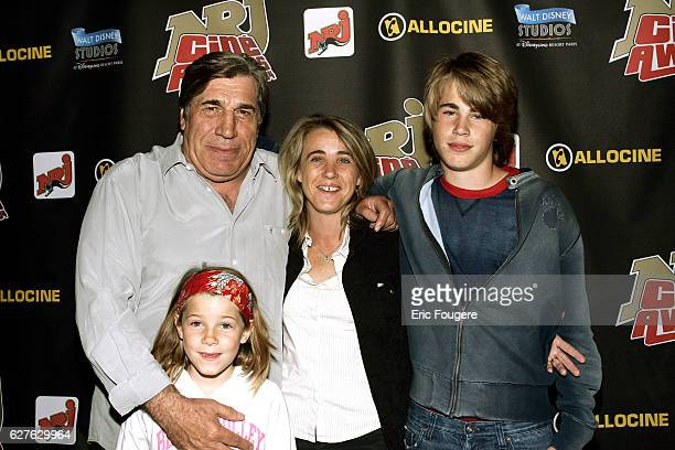 Presenter and actor JeanPierre Castaldi with his family at the 2004 NRJ Cine Awards
