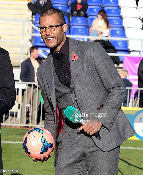 ITV presenter and former Northampton Town player Clarke Carlise before the FA Cup with Budweiser match between Bishop's Stortford and Northampton...