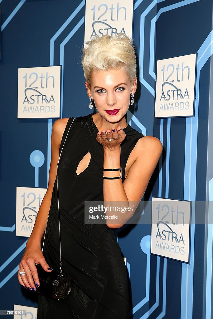 Presenter and model Kate Peck arrives at the 12th ASTRA Awards at Carriageworks on March 20, 2014 in Sydney, Australia.