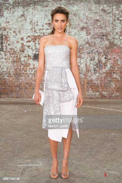 Presenter and Myer Ambassador Rachael Finch wears a Toni Maticevski dress at MercedesBenz Fashion Week Australia 2015 at Carriageworks on April 14...