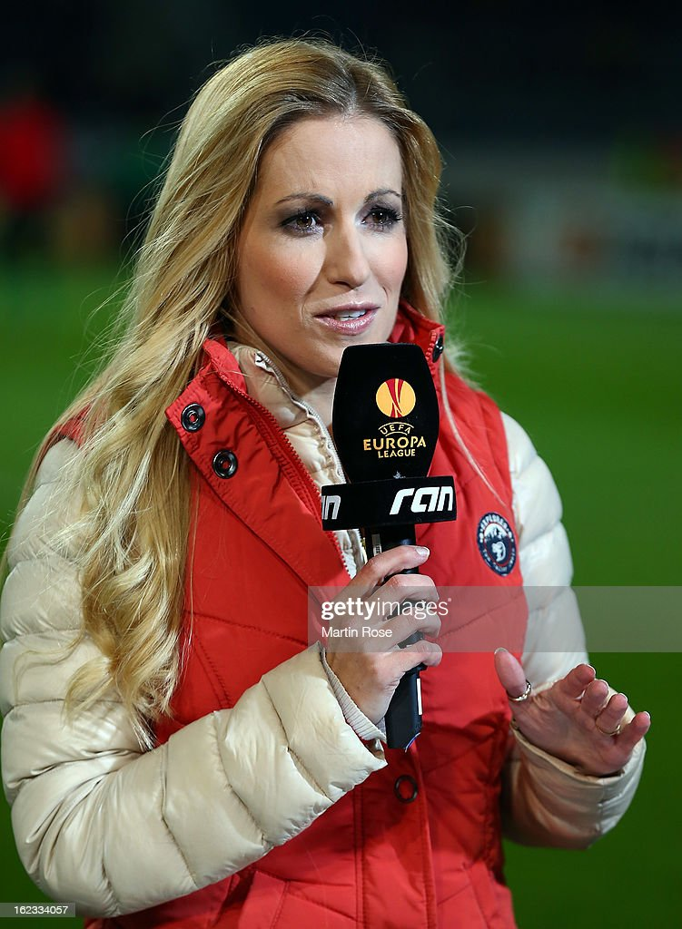TV presenter Andrea Kaiser looks on before the UEFA Europa League Round of 32 second leg match between Hannover 96 and Anji Makhachkala at AWD Arena on February 21, 2013 in Hannover, Germany.