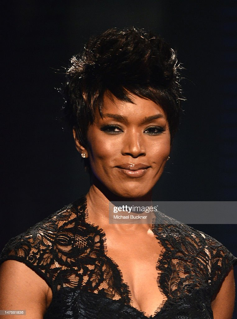 Presenter Angela Bassett speaks onstage during the 2012 BET Awards at The Shrine Auditorium on July 1, 2012 in Los Angeles, California.