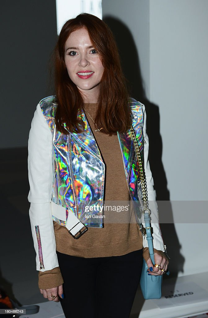 Presenter <a gi-track='captionPersonalityLinkClicked' href=/galleries/search?phrase=Angela+Scanlon&family=editorial&specificpeople=9752135 ng-click='$event.stopPropagation()'>Angela Scanlon</a> attends the DAKS show during London Fashion Week SS14 at BFC Courtyard Showspace on September 13, 2013 in London, England.